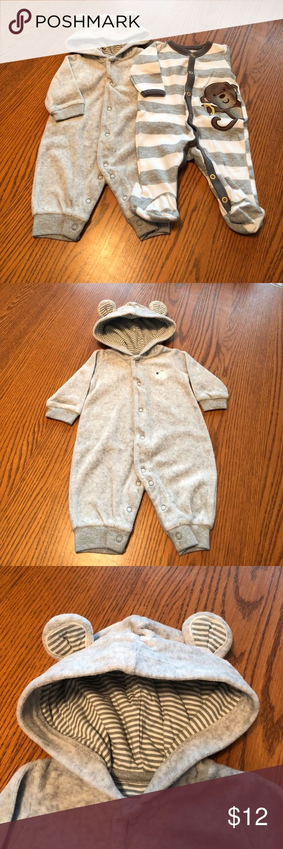 2 Pc Romper Bundle.                           NWOT 1st Romper is a Carter's, Lt. Gray, cute, soft & fuzzy w/ears on hood & a white bear on front. 2nd Romper is a Small Wonders, w/feet, Lt. Gray/white striped w/Monkey holding banana peaking off to the side. These are NWOT, has been washed in Dreft detergent & Downy fabric softener. Don't like the price? Make me a reasonable offer.                                                       JCTNB-49 Carter's & Small Wonders One Pieces