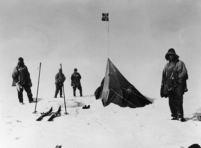 south pole expeditions: Captain Scott reaches the South Pole 17  January Members of Captain Scott's party discover the tent of Roald Amundsen at the South Pole on 17 January 1912. Scott, Bowers, Wilson, and P O Evans. Picture taken by Lawrence Oates