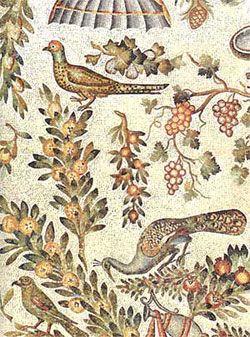 ***Mosaico de la bóveda del Mausoleo de Santa Constanza, Roma, s. IV. Los pájaros picoteando racimos o ramas con frutos aluden a la inmortalidad que se obtiene por el alimento eucarístico, igual que los putti vendimiadores.