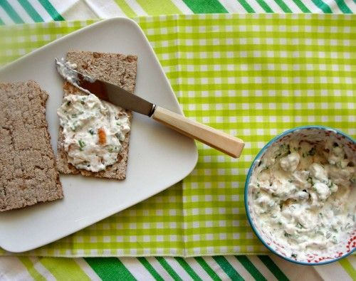 A delicious salmon spread with some chives smoked paprika for Smoked fish dip