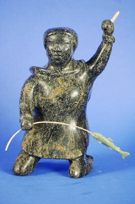 Artist: Osuitok Ipeelee, Title: Woman Fishing, ca. 1995/Femme, ca. 1995