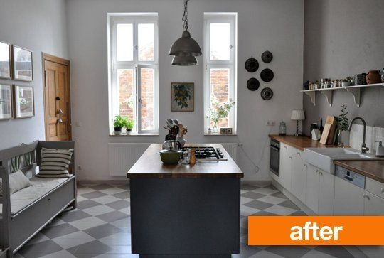Peaceful & serene kitchen that I would never want to leave. LOVE the cooktop on the island. :: Before & After: A Kitchen Goes From Garish To Gorgeous | Apartment Therapy