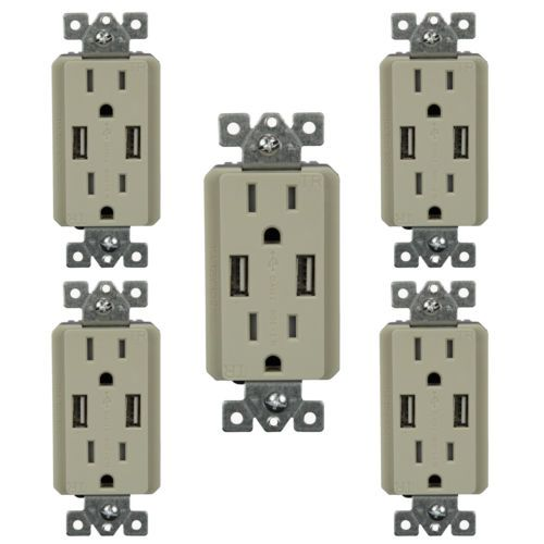 5PK-Dual-USB-Charger-Receptacle-W-Duplex-15A-Tamper-Resistant-TR-Outlet-Ivory