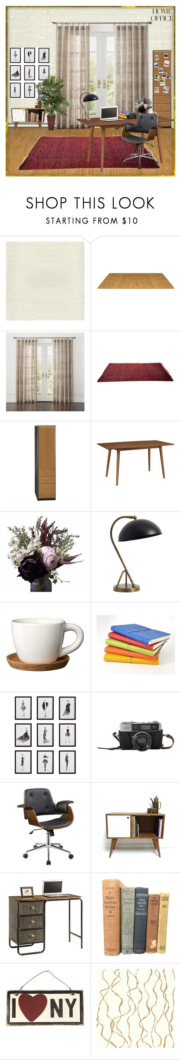"""Home office"" by anastasia-17 ❤ liked on Polyvore featuring interior, interiors, interior design, home, home decor, interior decorating, York Wallcoverings, Bush Business Furniture, Walker Edison and Abigail Ahern"