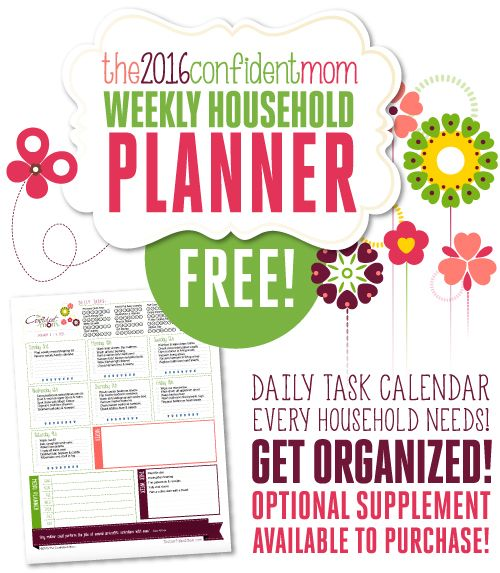 2016 Confident Mom Weekly Household Planner