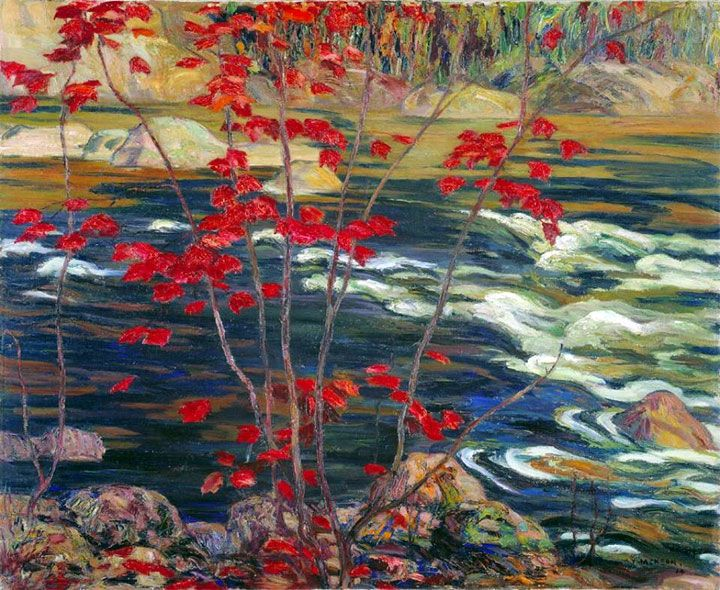 A. Y. Jackson (Canadian, 1882–1974) The Red Maple, November 1914. Oil on canvas, 82 x 99.5 cm. National Gallery of Canada, Ottawa, Ontario, Canada.