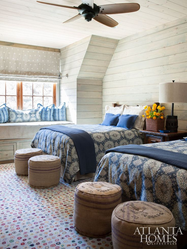 cottage style bedrooms. A guest room shows off pattern play between the bed spreads and  indoor outdoor rug 473 best COTTAGE STYLE BEDROOMS images on Pinterest Cottage