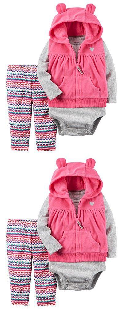 William Carter Baby Girls' 3 Piece Vest Set (Baby), Pink Aztek, 18 Months