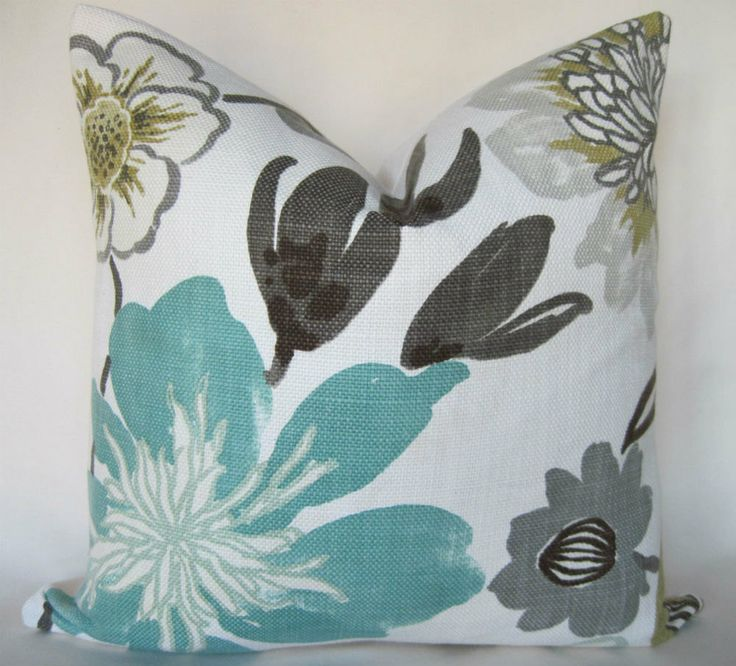 Pillow cover throw pillow gorgeous pearl floral aqua for Brown and gray throw pillows