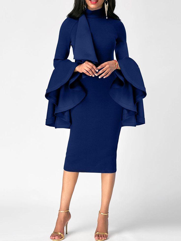 Dress Length:Mid-Calf; Sleeve Length:Long Sleeve; Sleeve Type:Ruffle Sleeve; Neckline:Turtleneck;