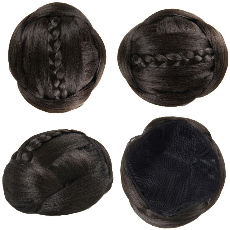 Q88   Synthetic chignon hair braided bun hairpiece  color of 8# black hair bun hair extension chignon