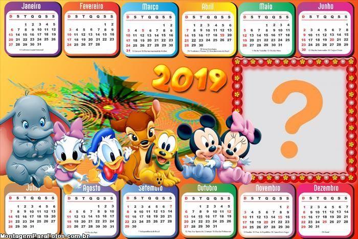 Calendario 2019 Disney Para Imprimir.Calendario 2019 Baby Disney Horizontal Marcos Calendario