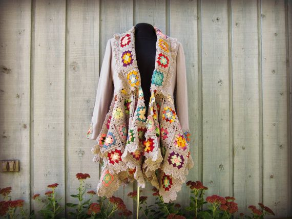 Med. Granny Square Sweater Coat// Upcycled// by emmevielle on Etsy