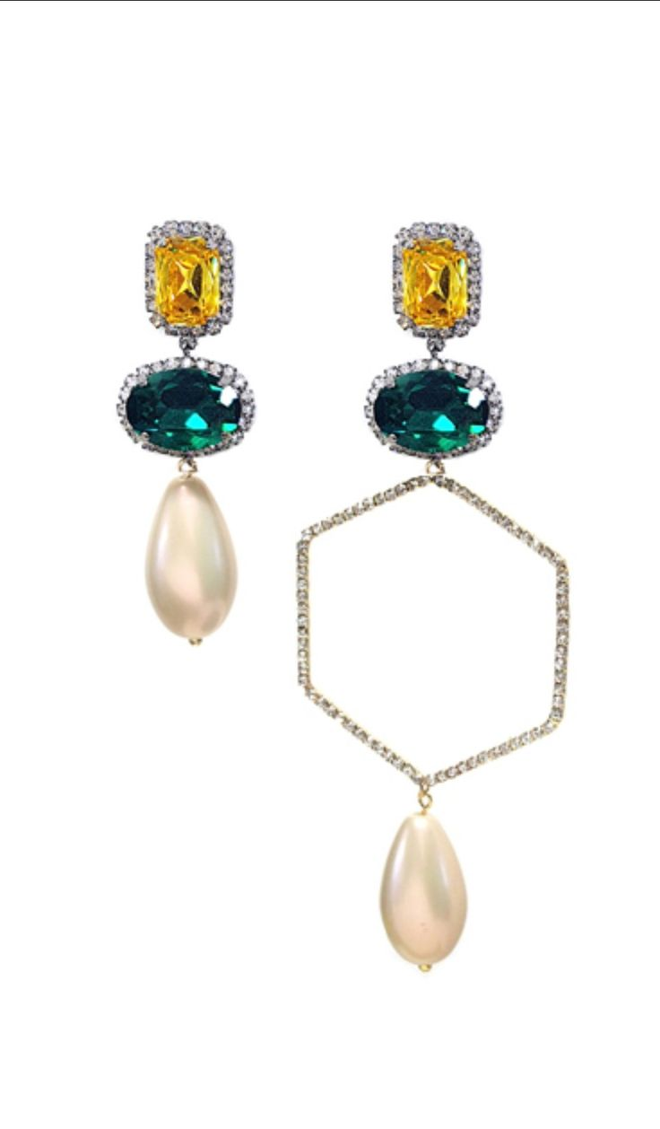 Shop Blackmuse  [블랙뮤즈]            Crystal Open Hexagon Drop   2017 fw trend jewelry Teardrop pearl earring