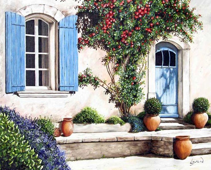 """Reproduction sur toile """"Façade au rosier""""  Site: http://www.lysandcreations.com/boutique/liste_rayons.cfm?"""