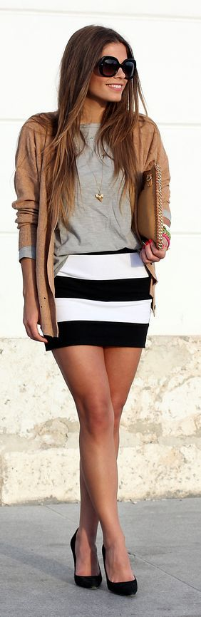 Striped Skirt Fall Inspo by Seams For a Desire