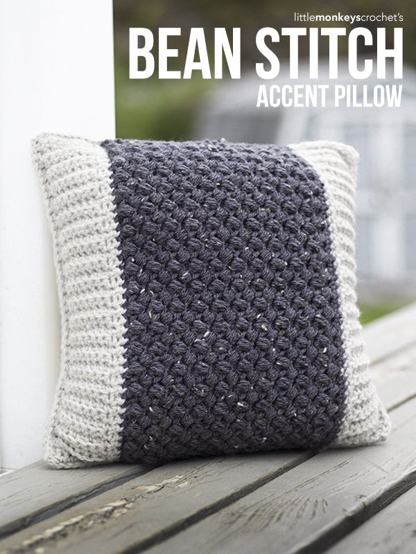 Bean Stitch Accent Pillow Crochet Pattern | Free crochet accent pillow pattern by Little Monkeys Crochet | featuring Lion Brand Vanna's Choice