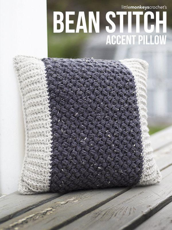 Bean Stitch Accent Pillow Crochet Pattern | Free crochet accent pillow pattern by Little Monkeys Crochet | featuring Lion Brand Vanna's Choice