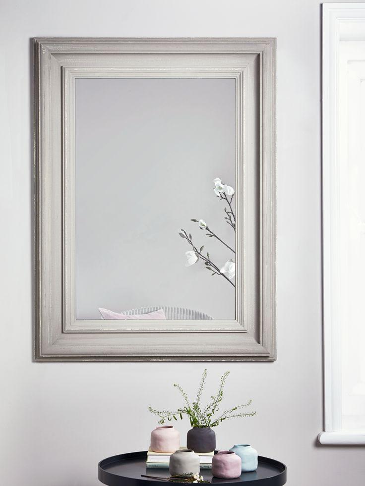 NEW Grey Distressed Frame Mirror