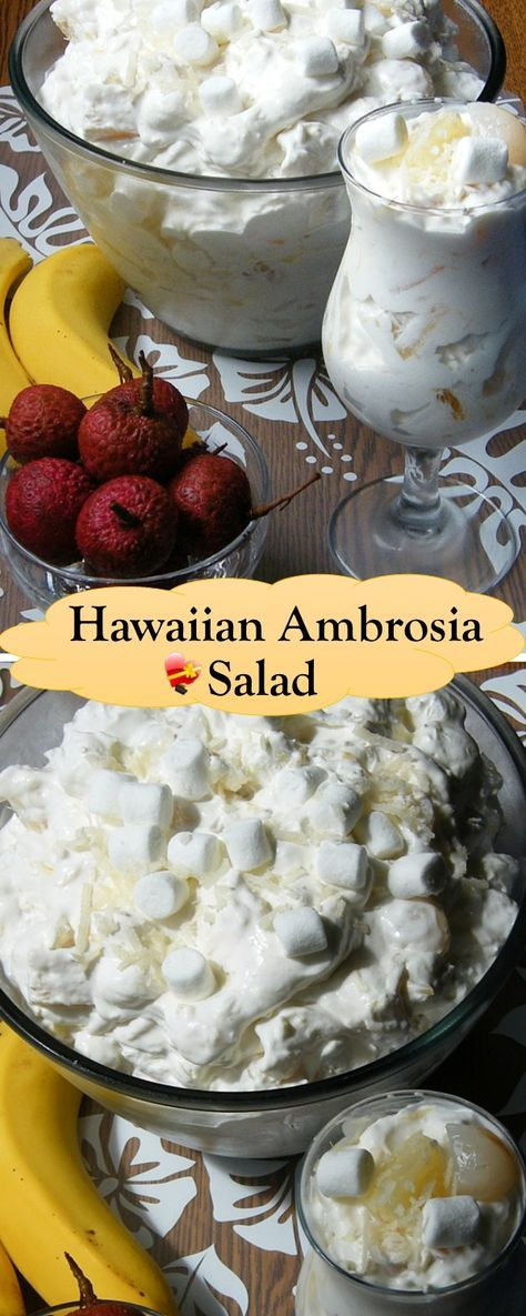 Delicious Hawaiian ambrosia fruit salad recipe with fresh lychee. Get more island style favorites here.