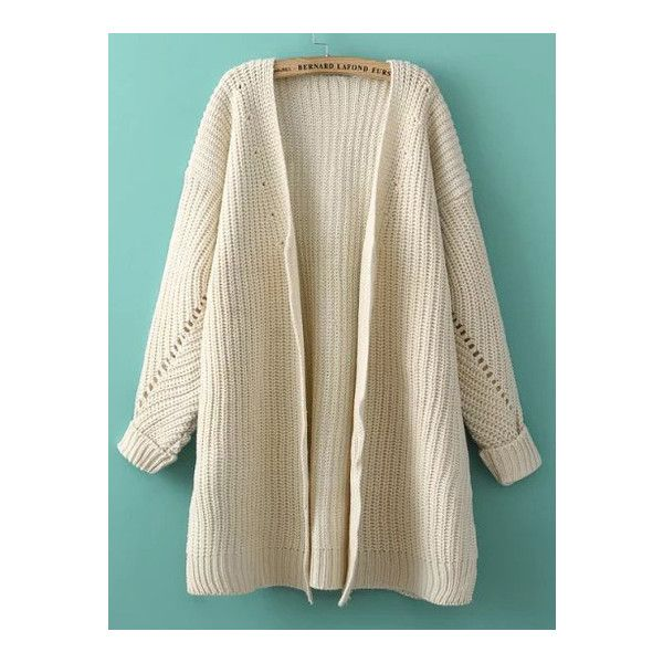 SheIn(sheinside) Beige Batwing Long Sleeve Loose Knit Cardigan ($23) ❤ liked on Polyvore