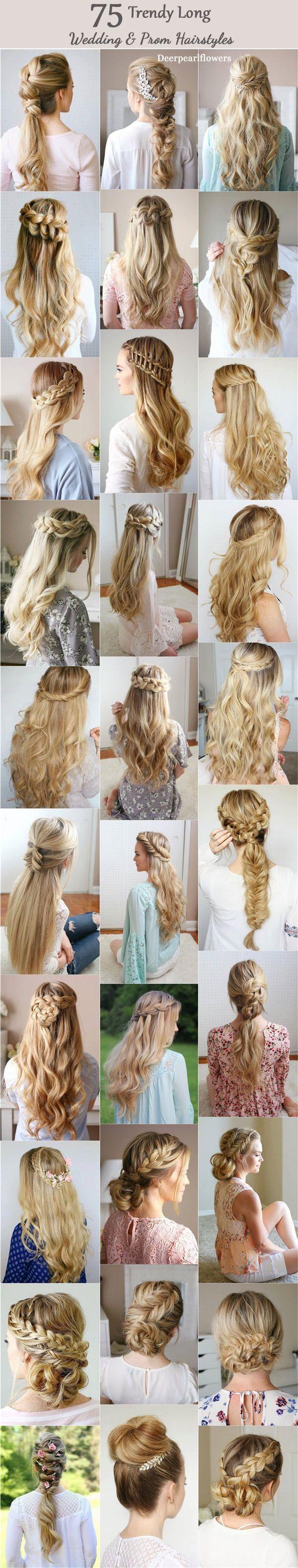 Lange Hochzeits- und Abschlussball-Frisuren von Mi…