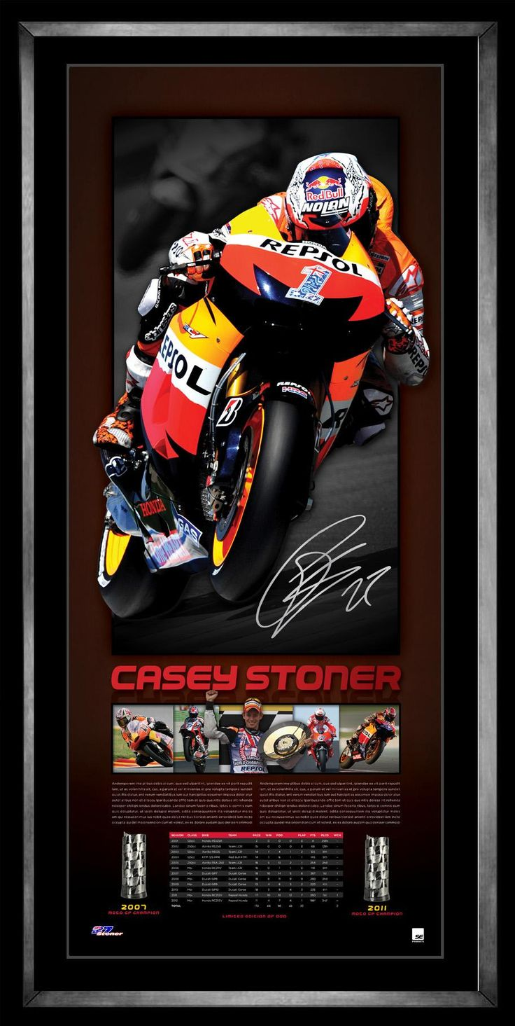 This magnificent piece pays tribute to the Australian dial MotoGP World Champion, a man who stood atop the MotoGP podium on 38 occassions during a glittering career, including a record six consecutive wins at Phillip Island in the Australian MotoGP.   Features full statistics and images of his record breaking career  Persoanlly signed by Casey Stoner Limited to 250 units only Accompanied with a COA Officially licensed by Casey Stoner