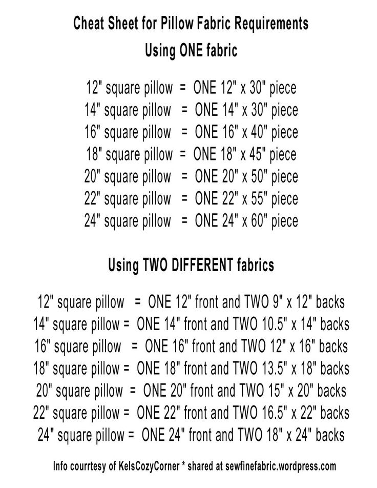 Envelope Pillow Cheat Sheet for size to cut fabric!  NO MATH!  Just sewing!  Tutorial included!  It's all there!