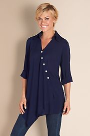 I'm curious about this style. Again, it can't be too long.   Cannes Tunic - NAVY Soft surroundings