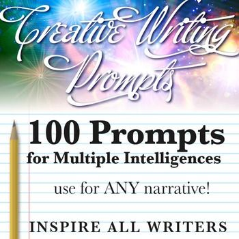 PPT of 100 prompts to use for ANY creative writing task; includes additional sentence starters. All slides labeled for multiple intelligences to help ALL students find a prompt to get them going!