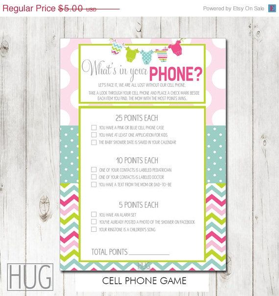 This Is For One Instant Download Digital File Of The Baby Shower Whats In  Your Phone