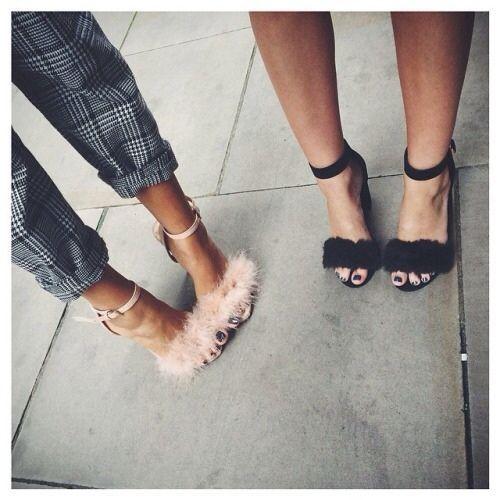 black and nude fur heels