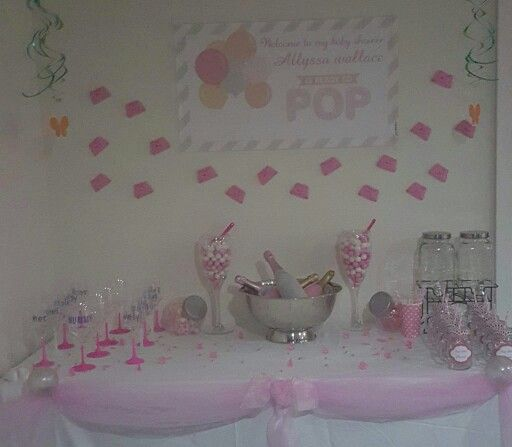 Pink baby shower drinking station