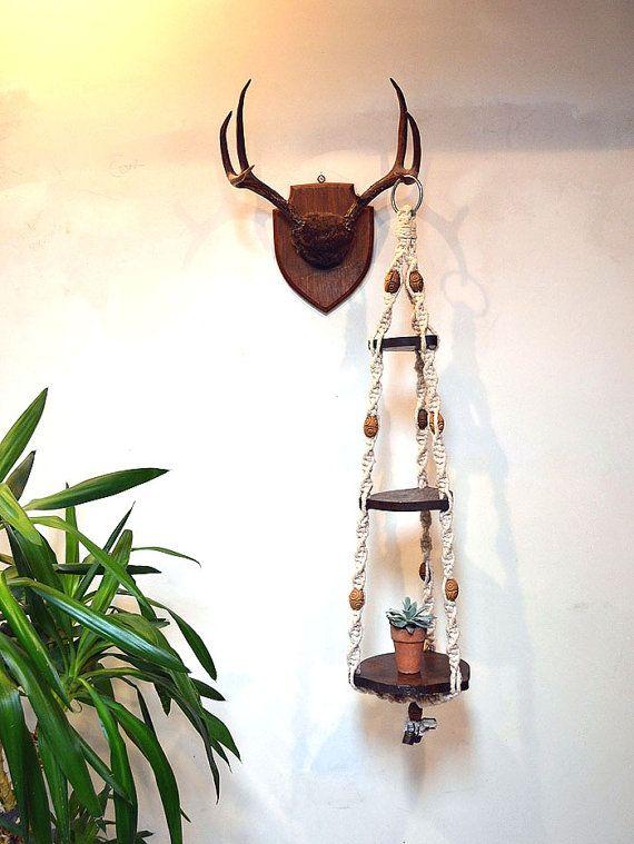 Unique Vintage Macrame Rope Hanging Planter Wooden Shelving / Happy Shock Shop at Etsy