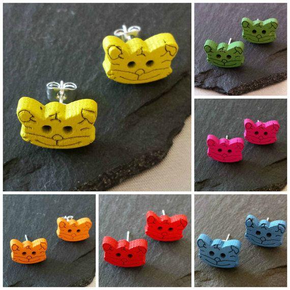 99p Cat earrings tiger earrings cute kitten by KelwayCraftsYorkshir