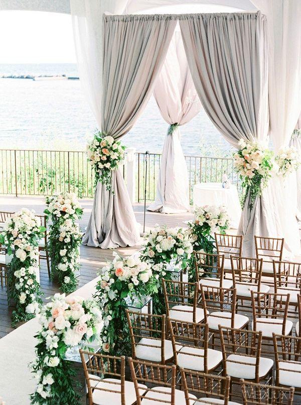 light grey and green wedding ceremony decoration ideas