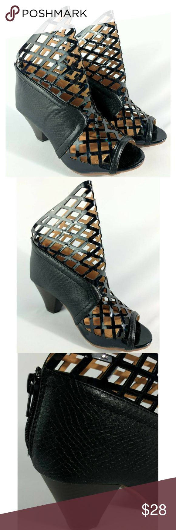 """Caged Metallic Charming Lady Peep Toe Shoes NEW PRICE FIRM. BUNDLE TO SAVE. Faux leather snake print on solid portions and patent leather appearance on cage cutout portion. Peep toe. Zippers on the back. Includes a set of heel cap replacements. 9"""" from floor to tallest point. Sz 7 Width at ball of foot inside is 3-1/8"""". Length inside from toe to heel is 9"""" with the slope. Sz 7.5 Width at ball of foot inside is 3-1/4"""". Length inside from toe to heel is 9-3/4"""" They run fairly true to size…"""