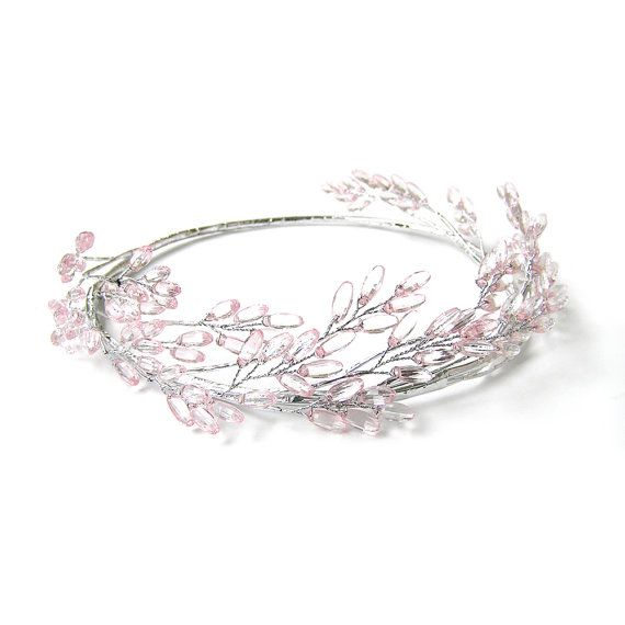 Pink Flower Crown Pink Beaded Head Crown Head by curtainroad