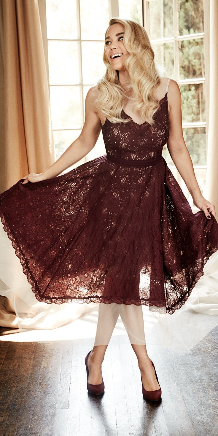 Have a special event this fall? Give a mid-length dress a whirl. With a fitted bodice of delicate lace and a swing-out skirt, this beautiful frock is perfect for a fine fête. Shop the complete LC Lauren Conrad Runway Collection at Kohl's.