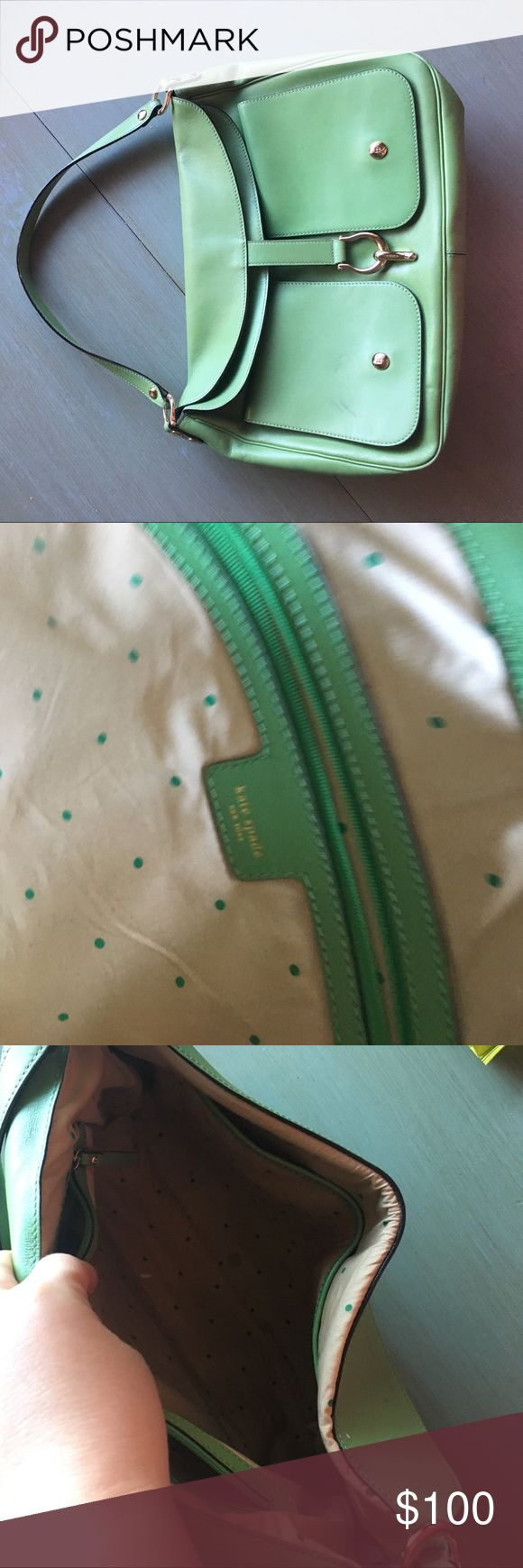 Kate Spade Lime Green Shoulder Purse Super fun, statement green purse from Kate Spade. Some small stains (see photos)  but not visible when purse is closed. kate spade Bags Shoulder Bags