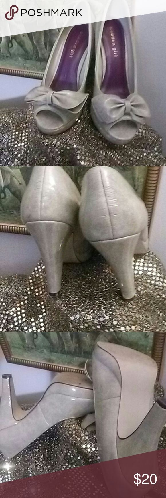 "Bone Color Madden Girl Shoes Step Out in These Stylish Bone Color Patent look Madden Girl ""Limmeric"" Peep-Toe, Platform Shoes with Bows! They'll look Awesome on your feet!! Three barely noticeable gray spots on outer left shoe. Very good condition. Madden Girl Shoes Heels"