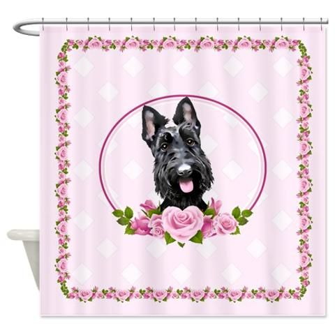 www.doggination.com  -  Scottie Pink Roses shower curtain