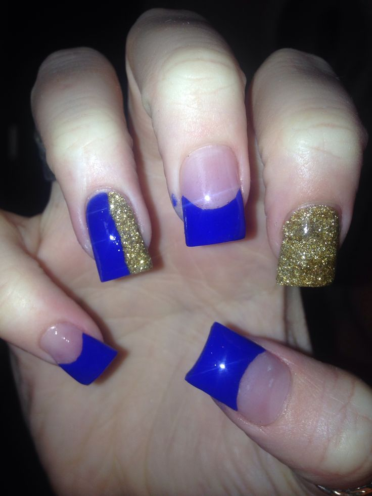 gold acrylic nails ideas
