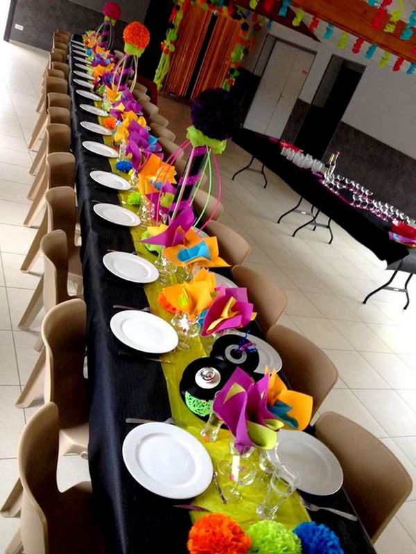 Deco Anniversaire Centre De Table Fluo Annee 80 Disco Fait Main