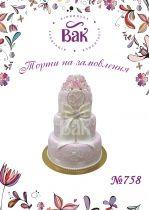 Торт для свадьбы в нежно-розовых тоннах