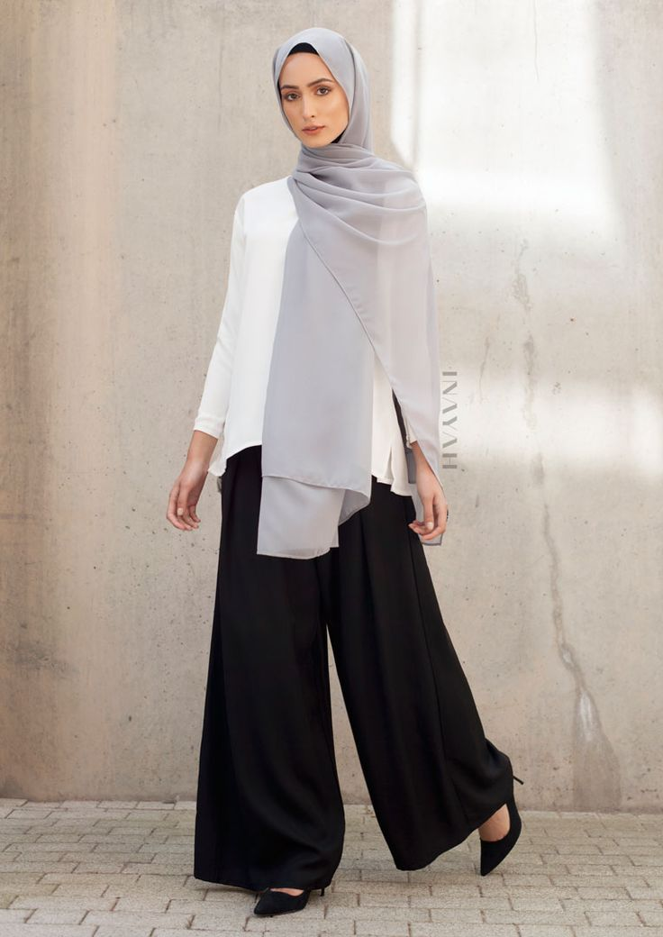 INAYAH | Sophistication plus comfort; classic items for the modest woman - Black Pleat Front #Palazzos + White #Crepe #Top + Mid Grey Soft #Crepe #Hijab -www.inayah.co