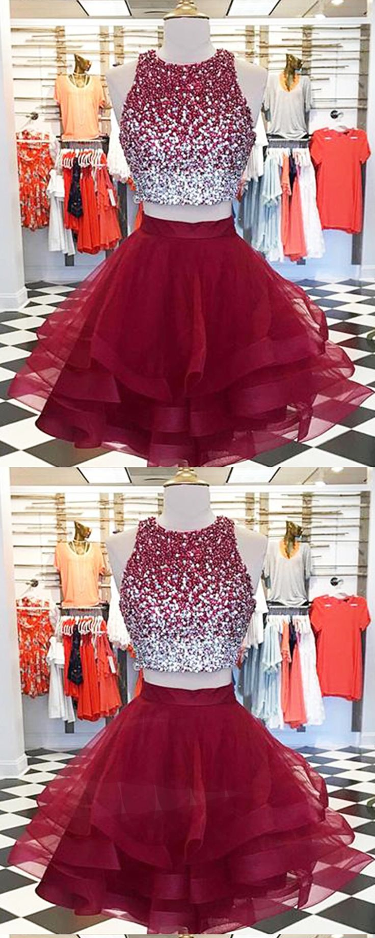 Burgundy tulle two pieces short homecoming dress with sequins