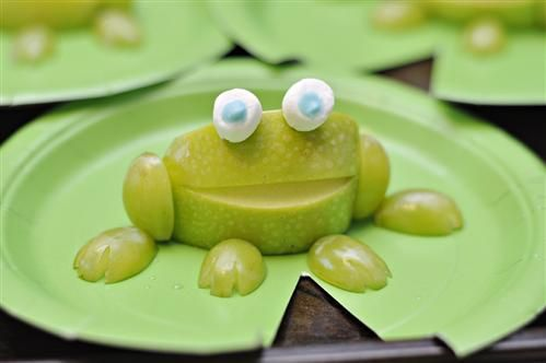 Preschool snacks with a Leap Day twist- frogs fashioned from a quarter of an…