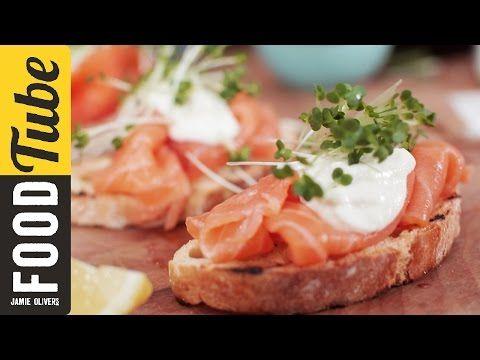 Smoked Salmon & Horseradish Canapes | Jamie Oliver - YouTube