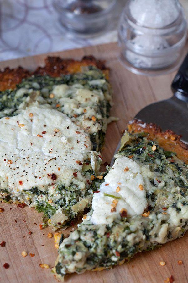 Spinach Artichoke Ricotta Pizza with Parmesan Garlic Cauliflower Crust | The Artful Gourmet